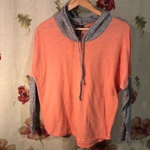 Rue 21 Coral/Orange and Grey Hoodie